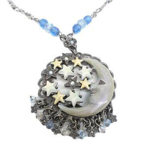 Kirks Folly 1/4 Moon Face Necklace With Stars